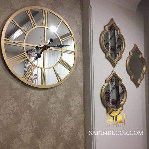 ساعت دیواری آینه ای چوبی سانا