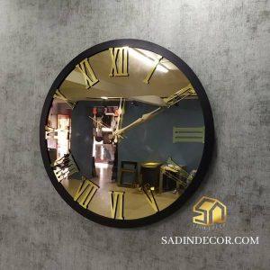 ساعت دیواری آینه ای مدرن با اعداد رومی