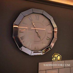ساعت دیواری چوبی آینه ای سادین دکور طرح 2
