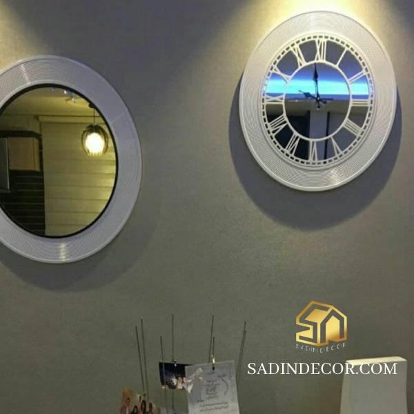 ساعت دیواری چوبی آینه ای گراندا