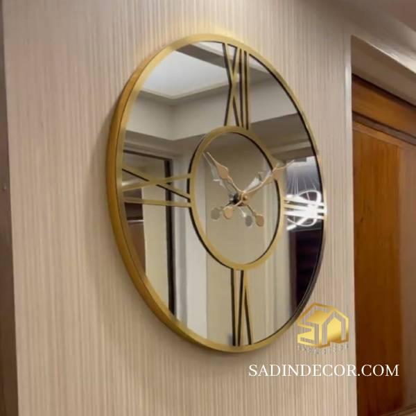 ساعت دیواری آینه ای مدرن رومی